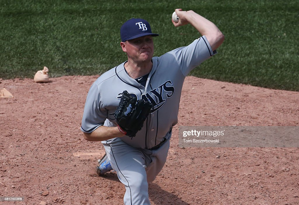 <a gi-track='captionPersonalityLinkClicked' href=/galleries/search?phrase=Jake+McGee+-+Baseball+Player&family=editorial&specificpeople=15096866 ng-click='$event.stopPropagation()'>Jake McGee</a> #57 of the Tampa Bay Rays delivers a pitch in the ninth inning during MLB game action against the Toronto Blue Jays on July 18, 2015 at Rogers Centre in Toronto, Ontario, Canada.