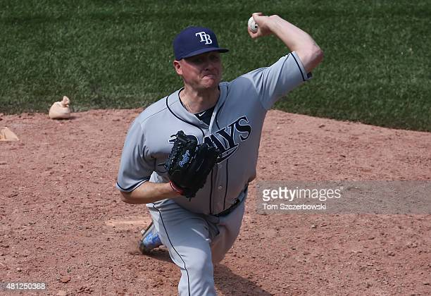 Jake McGee of the Tampa Bay Rays delivers a pitch in the ninth inning during MLB game action against the Toronto Blue Jays on July 18 2015 at Rogers...