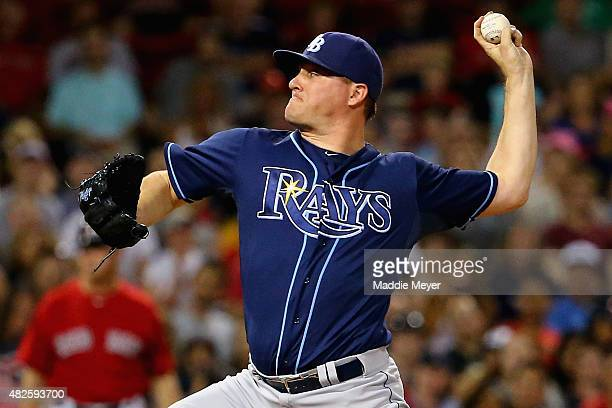 Jake McGee of the Tampa Bay Rays pitches against the Boston Red Sox during the seventh inning at Fenway Park on July 31 2015 in Boston Massachusetts