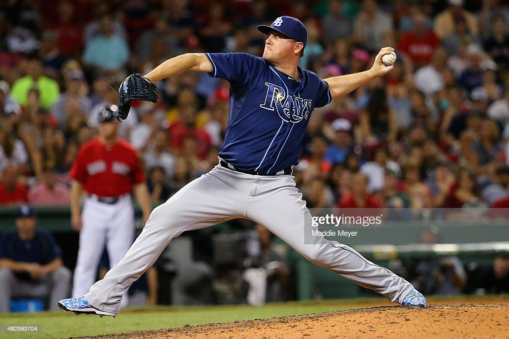 <a gi-track='captionPersonalityLinkClicked' href=/galleries/search?phrase=Jake+McGee+-+Baseball+Player&family=editorial&specificpeople=15096866 ng-click='$event.stopPropagation()'>Jake McGee</a> #57 of the Tampa Bay Rays pitches against the Boston Red Sox during the seventh inning at Fenway Park on July 31, 2015 in Boston, Massachusetts.