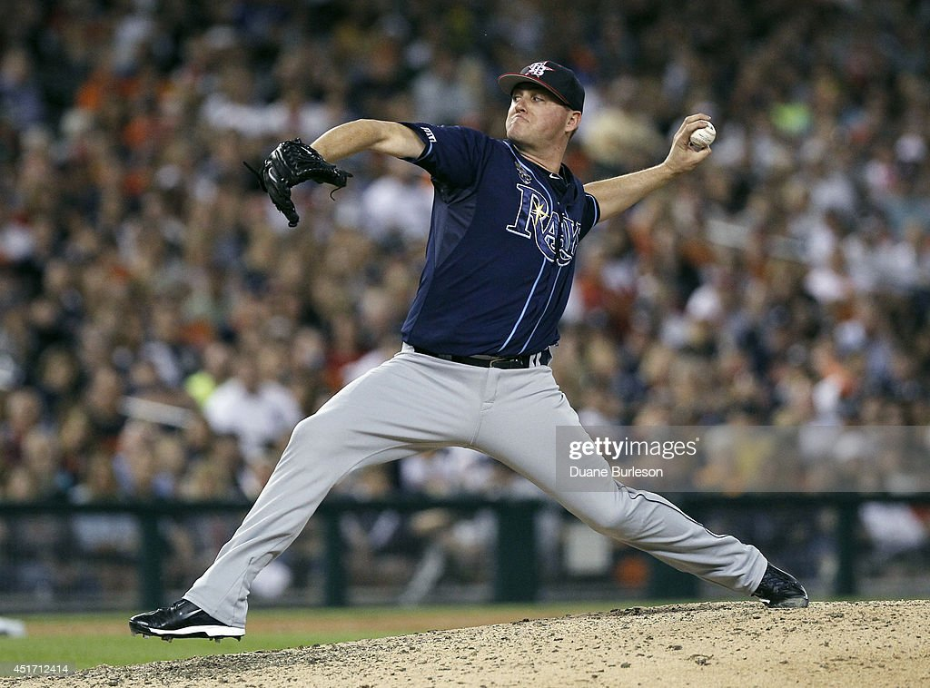 Jake McGee #57 of the Tampa Bay Rays pitches against the Detroit Tigers during the ninth inning at Comerica Park on July 4, 2014 in Detroit, Michigan. McGee recorded his fourth save in the Rays 6-3 win.