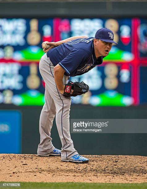 Jake McGee of the Tampa Bay Rays pitches against the Minnesota Twins on May 17 2015 at Target Field in Minneapolis Minnesota The Rays defeated the...