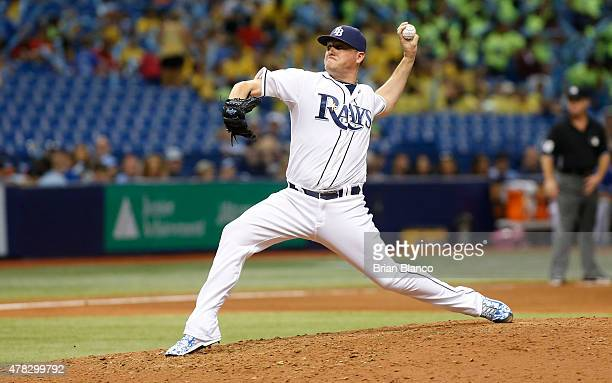 Jake McGee of the Tampa Bay Rays pitches during the eighth inning of a game against the Toronto Blue Jays on June 24 2015 at Tropicana Field in St...