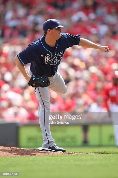 Jake McGee of the Tampa Bay Rays pitches during the game against the Cincinnati Reds at Great American Ball Park on Saturday April 12 2014 in...