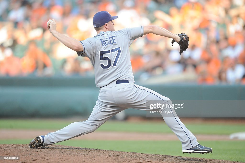 <a gi-track='captionPersonalityLinkClicked' href=/galleries/search?phrase=Jake+McGee+-+Baseball+Player&family=editorial&specificpeople=15096866 ng-click='$event.stopPropagation()'>Jake McGee</a> #57 of the Tampa Bay Rays pitches in the ninth inning to get his third save during a baseball game against the Baltimore Orioles on June 28, 2014 at Oriole Park at Camden Yards in Baltimore, Maryland. The Rays won 5-4.