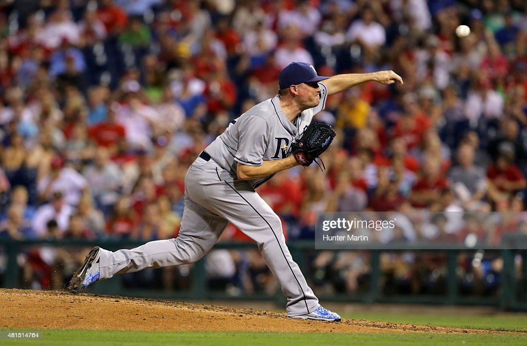 <a gi-track='captionPersonalityLinkClicked' href=/galleries/search?phrase=Jake+McGee+-+Baseball+Player&family=editorial&specificpeople=15096866 ng-click='$event.stopPropagation()'>Jake McGee</a> #57 of the Tampa Bay Rays throws a pitch in the seventh inning during a game against the Philadelphia Phillies at Citizens Bank Park on July 21, 2015 in Philadelphia, Pennsylvania. The Rays won 1-0.