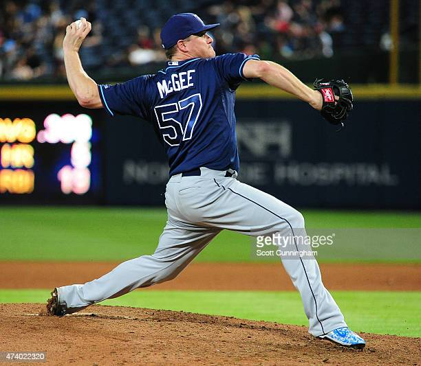 Jake McGee of the Tampa Bay Rays throws an eighth inning pitch against the Atlanta Braves at Turner Field on May 19 2015 in Atlanta Georgia