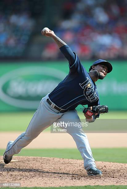 Alex Colome of the Tampa Bay Rays throws in the seventh inning against the Texas Rangers at Global Life Park in Arlington on August 16 2015 in...