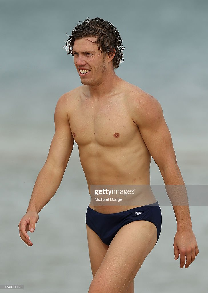 Jake Melksham looks ahead during an Essendon Bombers AFL recovery session at the St Kilda Sea Baths on July 25, 2013 in Melbourne, Australia.
