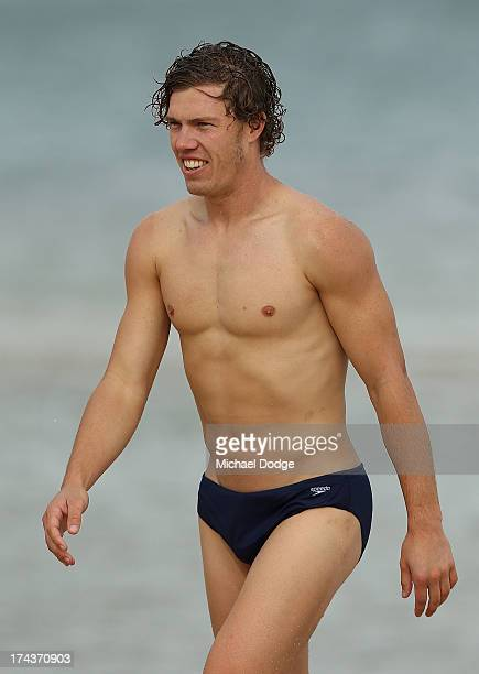Jake Melksham looks ahead during an Essendon Bombers AFL recovery session at the St Kilda Sea Baths on July 25 2013 in Melbourne Australia