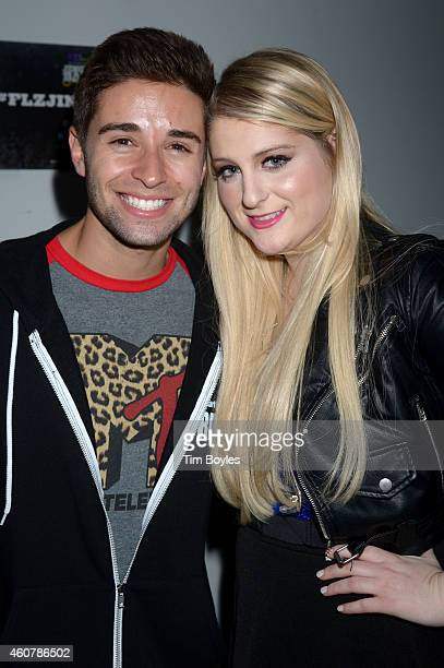 Jake Miller and Meghan Trainor attend 933 FLZ's Jingle Ball 2014 at Amalie Arena on December 22 2014 in Tampa Florida