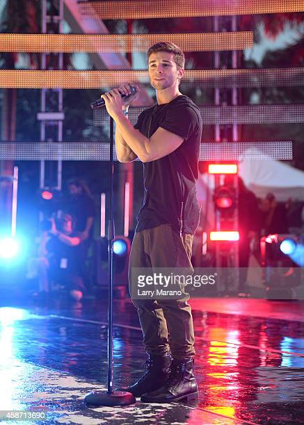 Jake Miller performs on stage during the 2014 MTV EMA Kick Off at the Klipsch Amphitheater on November 9 2014 in Miami Florida
