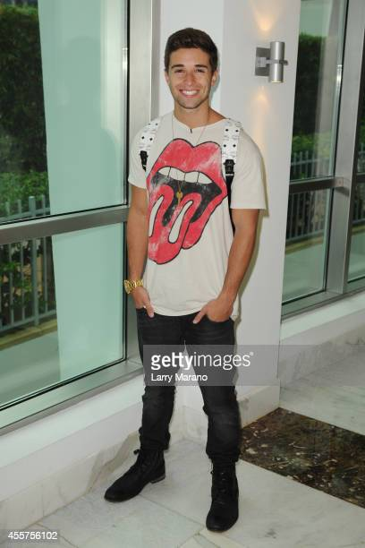 Jake Miller poses backstage during the Y100 All About That Bass Party at Fontainebleau Miami Beach on September 19 2014 in Miami Beach Florida