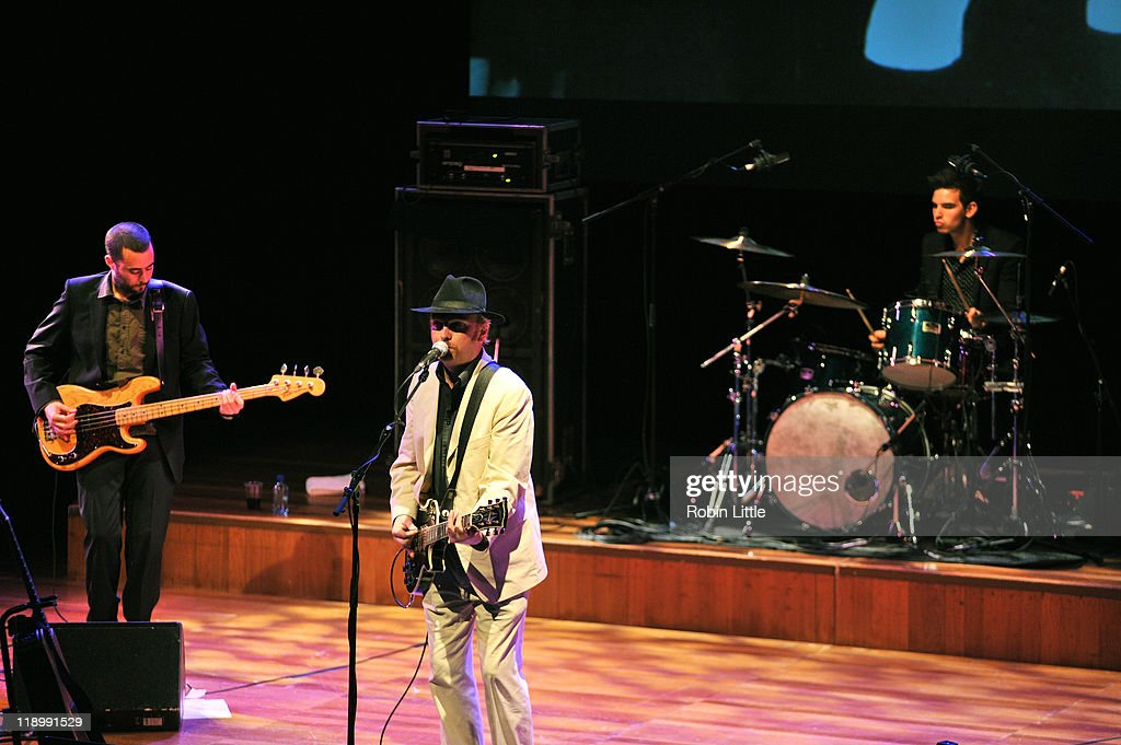 Jake Morley, Luke Haines and Harry Mead perform on stage at the Queen Elizabeth Hall on July 13, 2011 in London, United Kingdom.