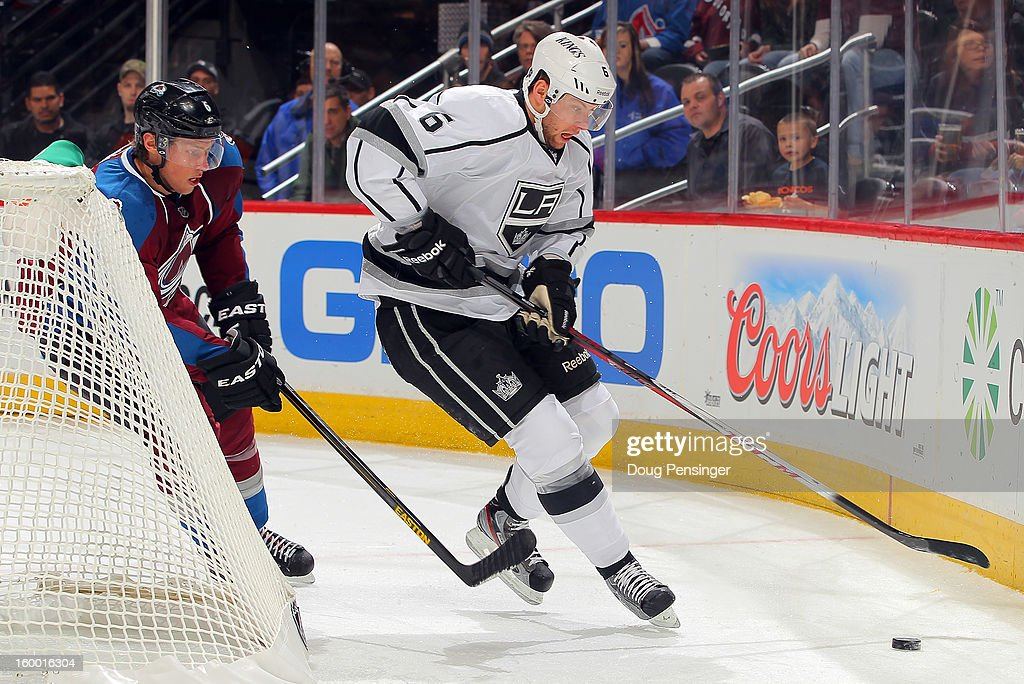 Jake Muzzin #6 of the Los Angeles Kings controls the puck against the Colorado Avalanche at the Pepsi Center on January 22, 2013 in Denver, Colorado. The Avalanche defeated the Kings 3-1.