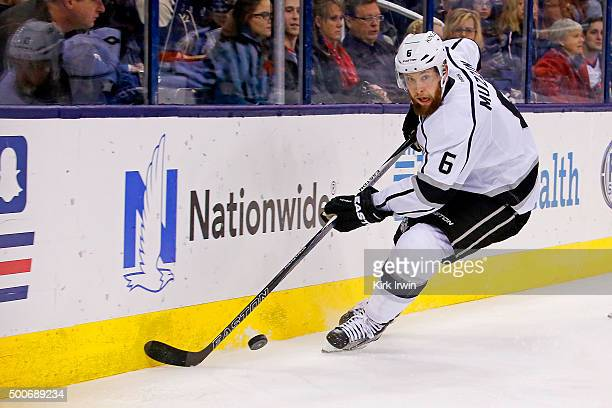 Jake Muzzin of the Los Angeles Kings controls the puck during the game against the Columbus Blue Jackets on December 8 2015 at Nationwide Arena in...