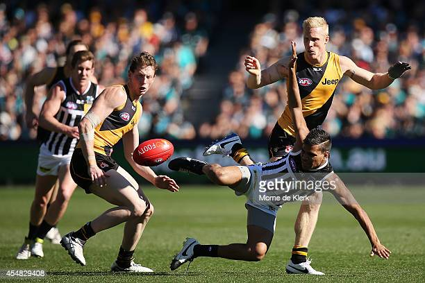 Jake Neade of the Power is tackled during the First Elimination Final match between the Port Adelaide Power and the Richmond Tigers at Adelaide Oval...