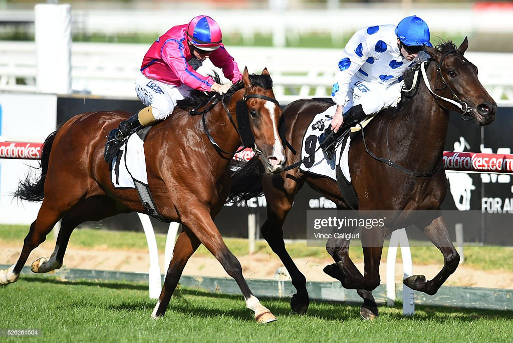 Jake Noonan riding Oregon's Day defeats Damian Lane riding Highland Beat (L) in Race 5, the Thoroughbred Clup Cup during Melbourne Racing at Caulfield Racecourse on April 30, 2016 in Melbourne, Australia.