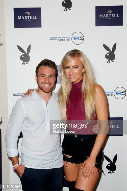 Jake Nussbaum and Danielle Moinet attend the Talent Resources Sports Party hosted by Martell Cognac at Playboy Headquarters on July 11 2017 in Los...