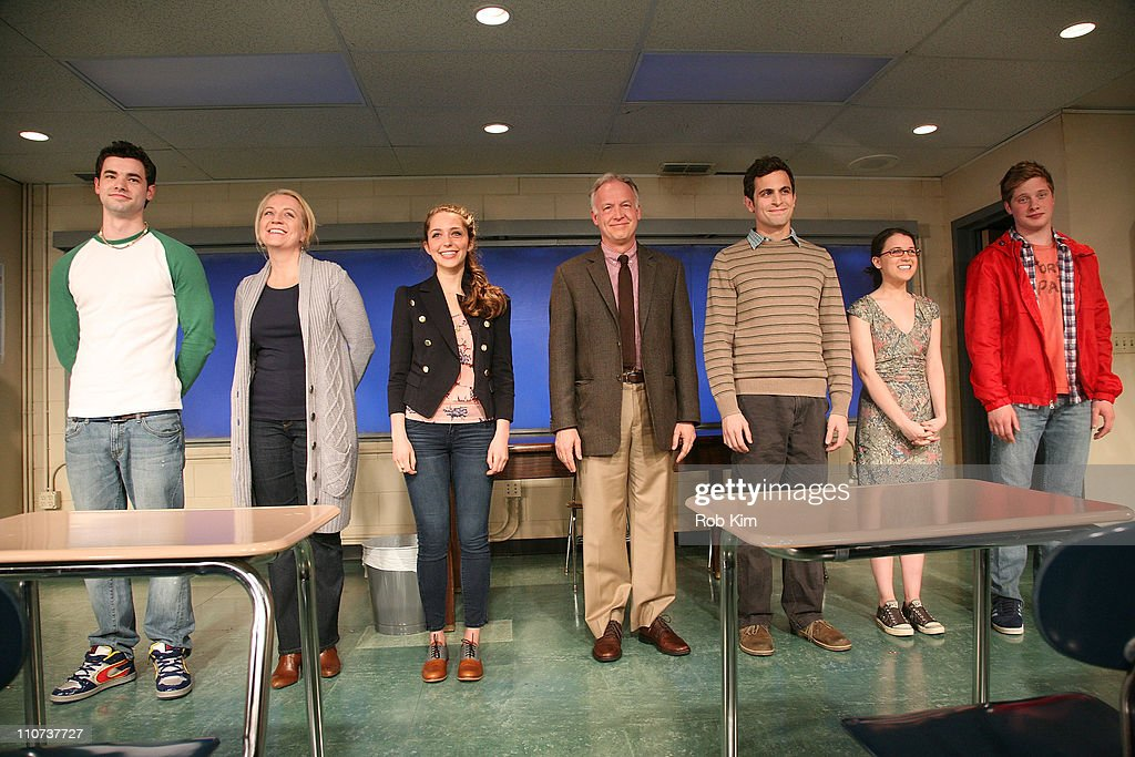 Jake O'Connor, Kristie Dale Sanders, Jessica Rothenberg, Reed Birney, Matt Dellapina, Alexandra Socha and Josh Caras during curtain call at the opening night of 'The Dream of the Burning Boy' at Roundabout Theatre Company Black Box Theatre on March 23, 2011 in New York City.