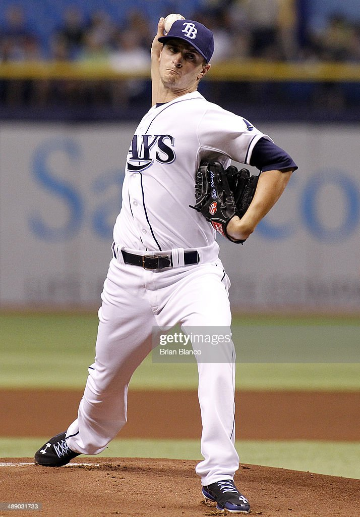 <a gi-track='captionPersonalityLinkClicked' href=/galleries/search?phrase=Jake+Odorizzi&family=editorial&specificpeople=9013227 ng-click='$event.stopPropagation()'>Jake Odorizzi</a> #23 of the Tampa Bay Rays pitches during the first inning of a game against the Cleveland Indians on May 9, 2014 at Tropicana Field in St. Petersburg, Florida.
