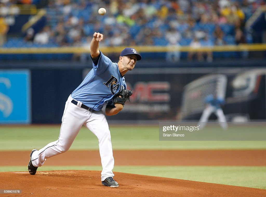 <a gi-track='captionPersonalityLinkClicked' href=/galleries/search?phrase=Jake+Odorizzi&family=editorial&specificpeople=9013227 ng-click='$event.stopPropagation()'>Jake Odorizzi</a> #23 of the Tampa Bay Rays pitches during the first inning of a game against the Toronto Blue Jays on May 1, 2016 at Tropicana Field in St. Petersburg, Florida.