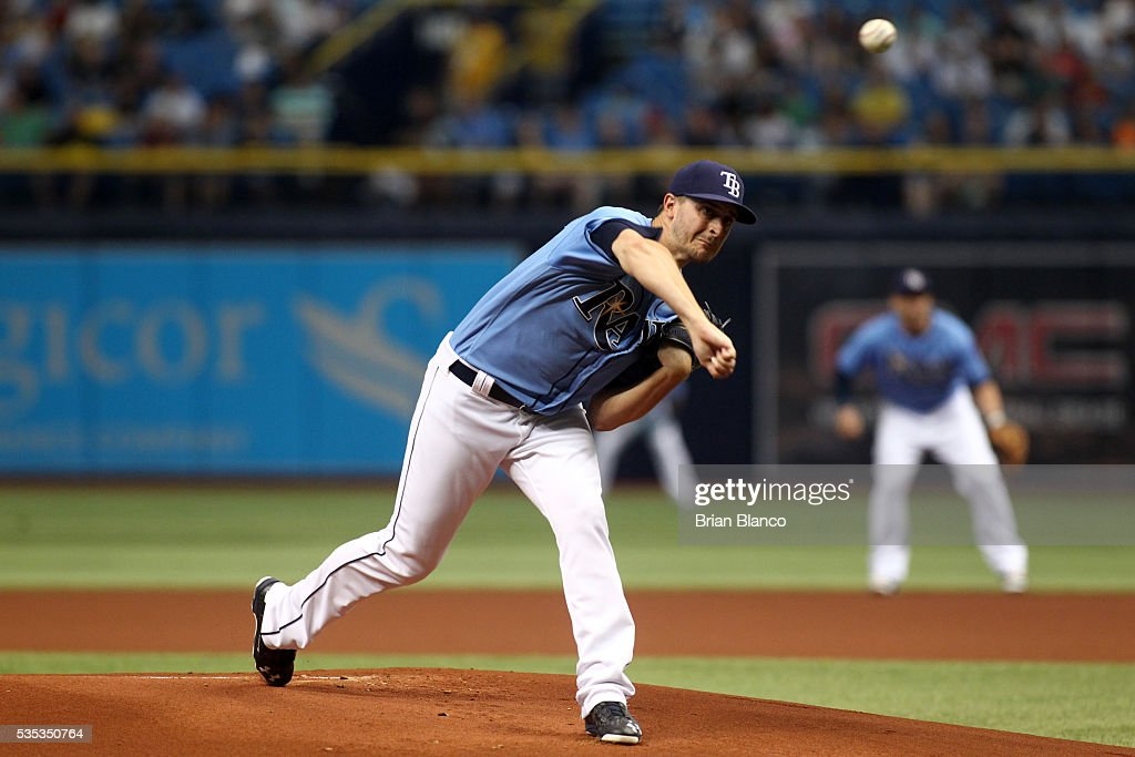 <a gi-track='captionPersonalityLinkClicked' href=/galleries/search?phrase=Jake+Odorizzi&family=editorial&specificpeople=9013227 ng-click='$event.stopPropagation()'>Jake Odorizzi</a> #23 of the Tampa Bay Rays pitches during the first inning of a game against the New York Yankees on May 29, 2016 at Tropicana Field in St. Petersburg, Florida.