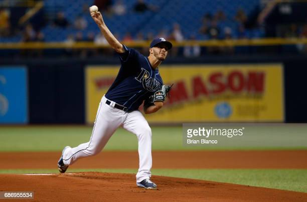 Jake Odorizzi of the Tampa Bay Rays pitches during the first inning of a game against the Los Angeles Angels on May 22 2017 at Tropicana Field in St...