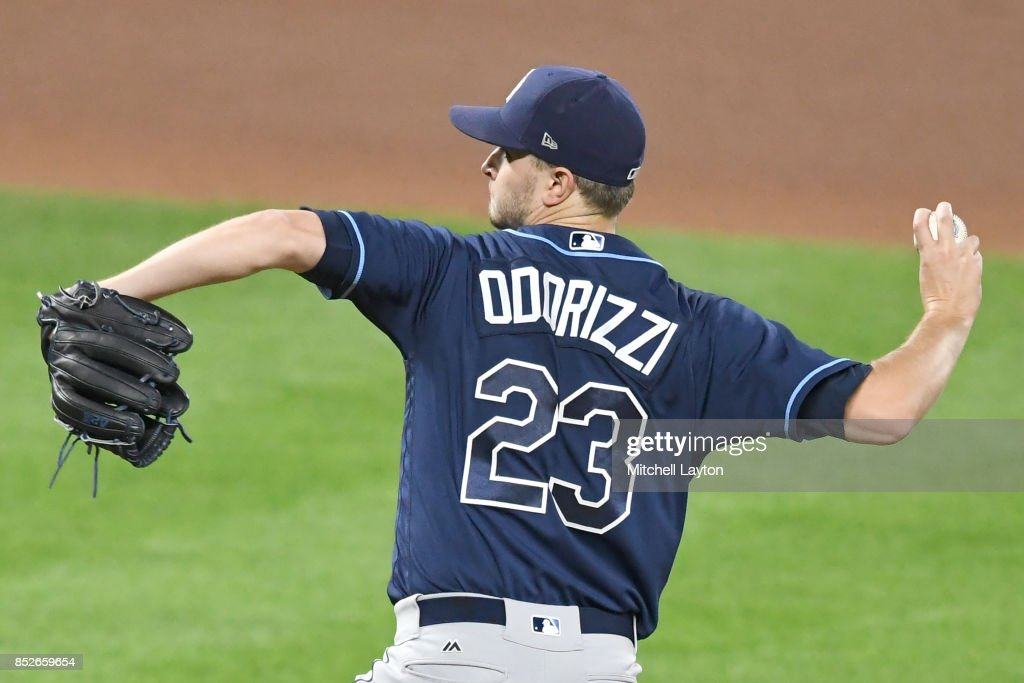 Jake Odorizzi #23 of the Tampa Bay Rays pitches in the fifth inning during a baseball game against the Baltimore Orioles at Oriole Park at Camden Yards on September 23, 2017 in Baltimore, Maryland.