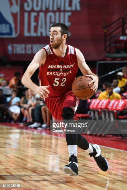 Jake Odum of the Miami Heat handles the ball against the LA Clippers on July 13 2017 at the Thomas Mack Center in Las Vegas Nevada NOTE TO USER User...