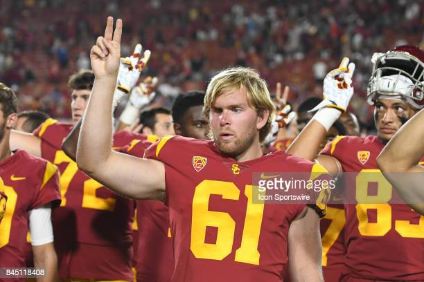Jake Olson celebrates after a college football game between the Stanford Cardinal and the USC Trojans on September 9 at Los Angeles Memorial Coliseum...