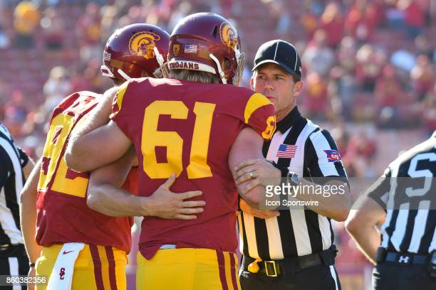 Jake Olson is helped off the filed after appearing in a college football game between the Oregon State Beavers and the USC Trojans on October 7 at...