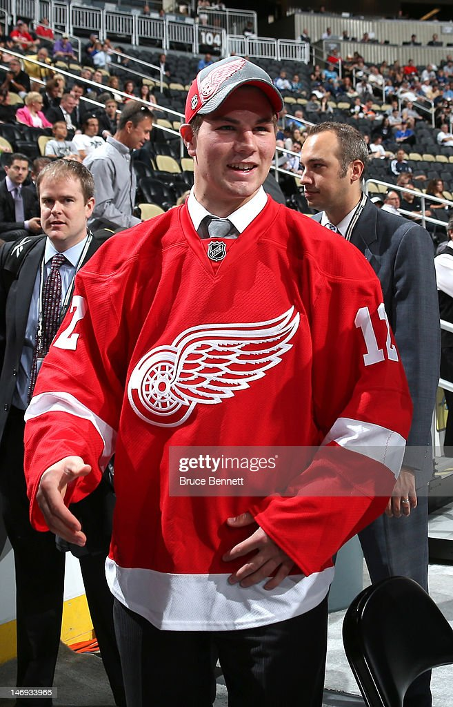 Jake Paterson, 80th overall pick by the Detroit Red Wings, looks on during day two of the 2012 NHL Entry Draft at Consol Energy Center on June 23, 2012 in Pittsburgh, Pennsylvania.