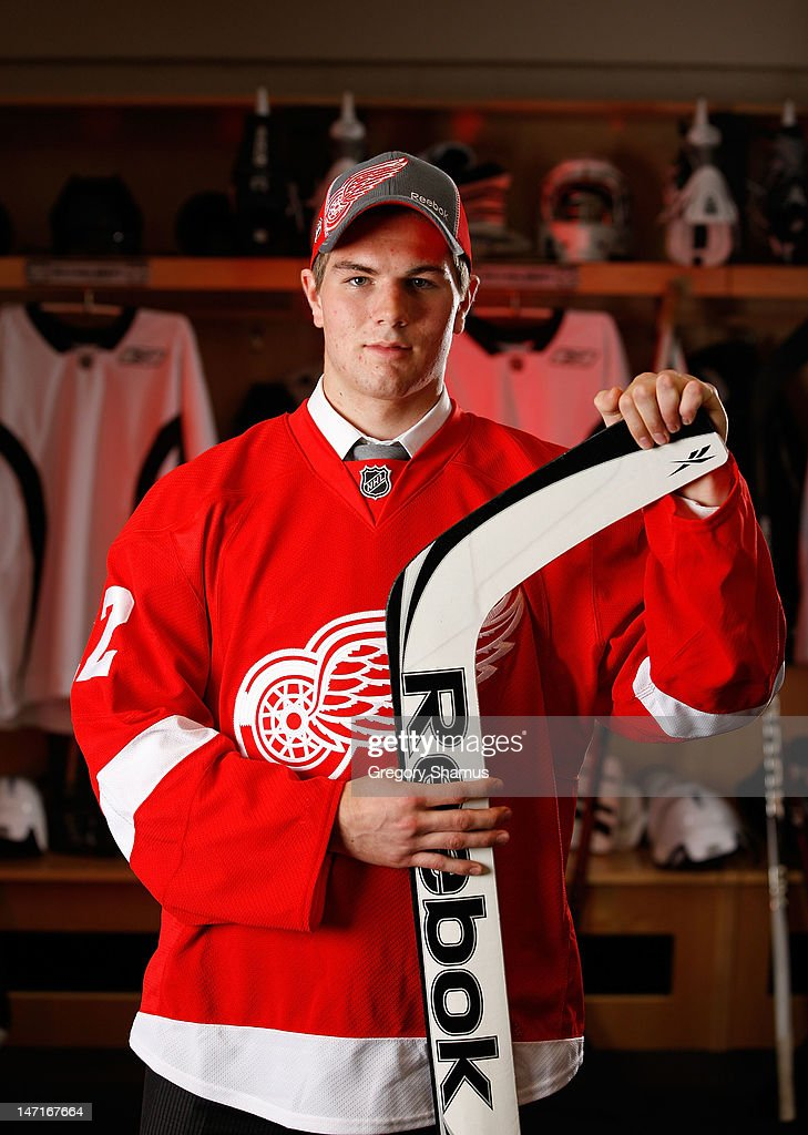 Jake Paterson, 80th overall pick by the Detroit Red Wings, poses for a portrait during the 2012 NHL Entry Draft at Consol Energy Center on June 23, 2012 in Pittsburgh, Pennsylvania.