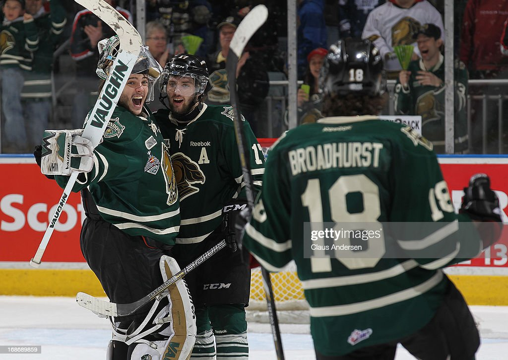 Jake Patterson #35 and Seth Griffith #17 of the London Knights celebrate after defeating the Barrie Colts in Game Seven of the 2013 OHL Championship Final on May 13, 2013 at the Budweiser Gardens in London, Ontario, Canada. The Knights defeated the Colts 3-2 to win the OHL Championship 4-3.