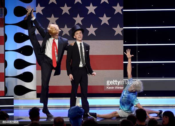 Jake Paul and JonCozart onstage during the 2017 Streamy Awards at The Beverly Hilton Hotel on September 26 2017 in Beverly Hills California