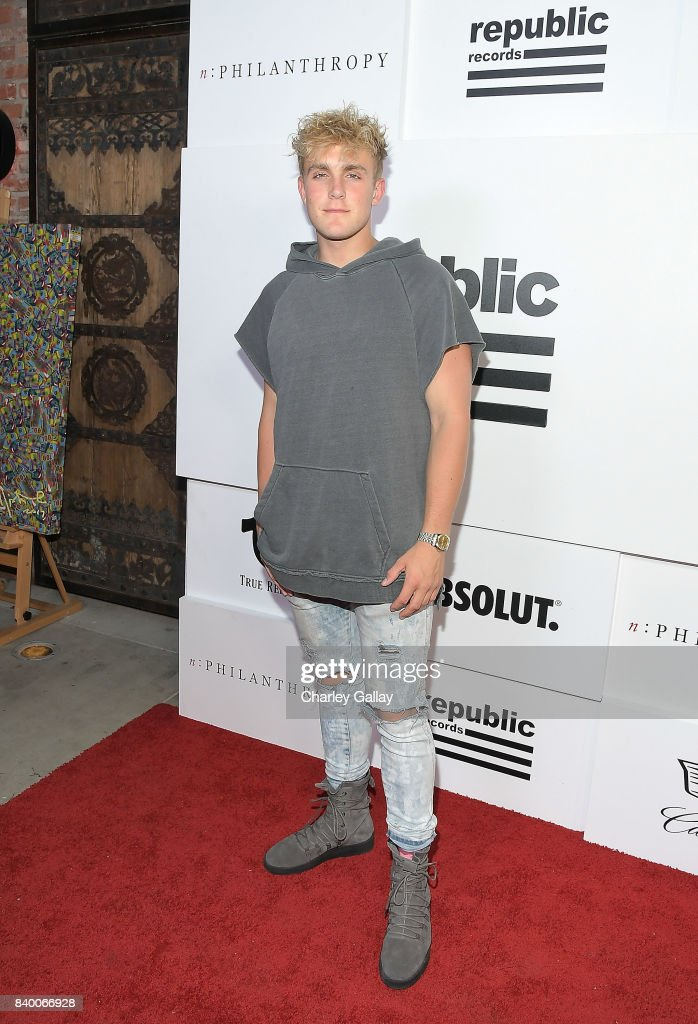 Jake Paul (C) attends nPHILANTHROPY Sponsors Republic Records' VMA After Party 2017 at TAO at the Dream Hotel on August 27, 2017 in Los Angeles, California.