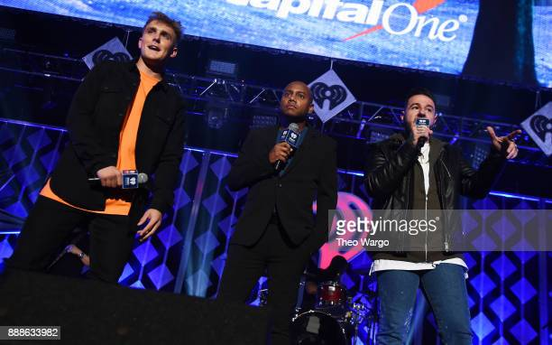 Jake Paul Maxwell and Mo' Bounce speak at Z100's Jingle Ball 2017 on December 8 2017 in New York City