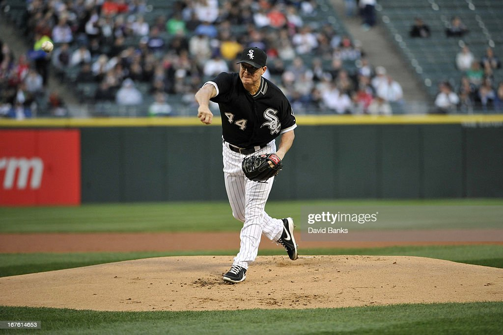 <a gi-track='captionPersonalityLinkClicked' href=/galleries/search?phrase=Jake+Peavy&family=editorial&specificpeople=211320 ng-click='$event.stopPropagation()'>Jake Peavy</a> #44 of the Chicago White Sox pitches against the Tampa Bay Rays during the first inning on April 26, 2013 at U.S. Cellular Field in Chicago, Illinois.