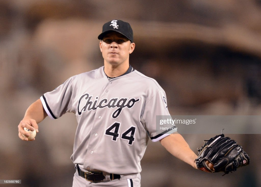 <a gi-track='captionPersonalityLinkClicked' href=/galleries/search?phrase=Jake+Peavy&family=editorial&specificpeople=211320 ng-click='$event.stopPropagation()'>Jake Peavy</a> #44 of the Chicago White Sox reacts after a Kendrys Morales #8 of the Los Angeles Angels homerun to tie the score 1-1 during the second inning at Angel Stadium of Anaheim on September 21, 2012 in Anaheim, California.
