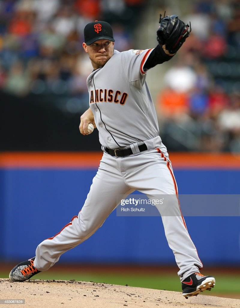 Jake Peavy #43 of the San Francisco Giants delivers a pitch against the New York Mets in the first inning on August 2, 2014 at Citi Field in the Flushing neighborhood of the Queens borough of New York City.