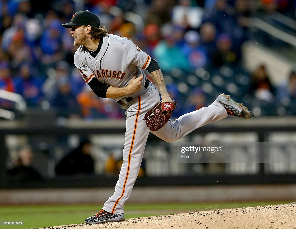 <a gi-track='captionPersonalityLinkClicked' href=/galleries/search?phrase=Jake+Peavy&family=editorial&specificpeople=211320 ng-click='$event.stopPropagation()'>Jake Peavy</a> #22 of the San Francisco Giants delivers a pitch in the first inning against the New York Mets at Citi Field on April 29, 2016 in the Flushing neighborhood of the Queens borough of New York City.