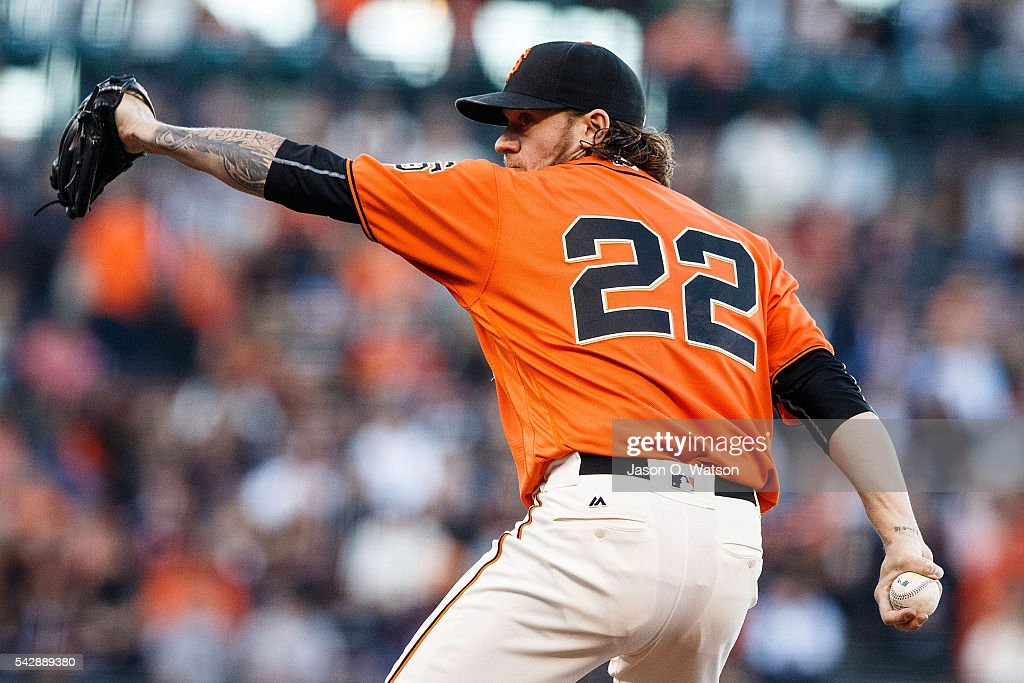 <a gi-track='captionPersonalityLinkClicked' href=/galleries/search?phrase=Jake+Peavy&family=editorial&specificpeople=211320 ng-click='$event.stopPropagation()'>Jake Peavy</a> #22 of the San Francisco Giants pitches against the Philadelphia Phillies during the first inning at AT&T Park on June 24, 2016 in San Francisco, California.