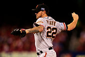 Jake Peavy of the San Francisco Giants pitches in the first inning against the St Louis Cardinals during Game Two of the National League Championship...