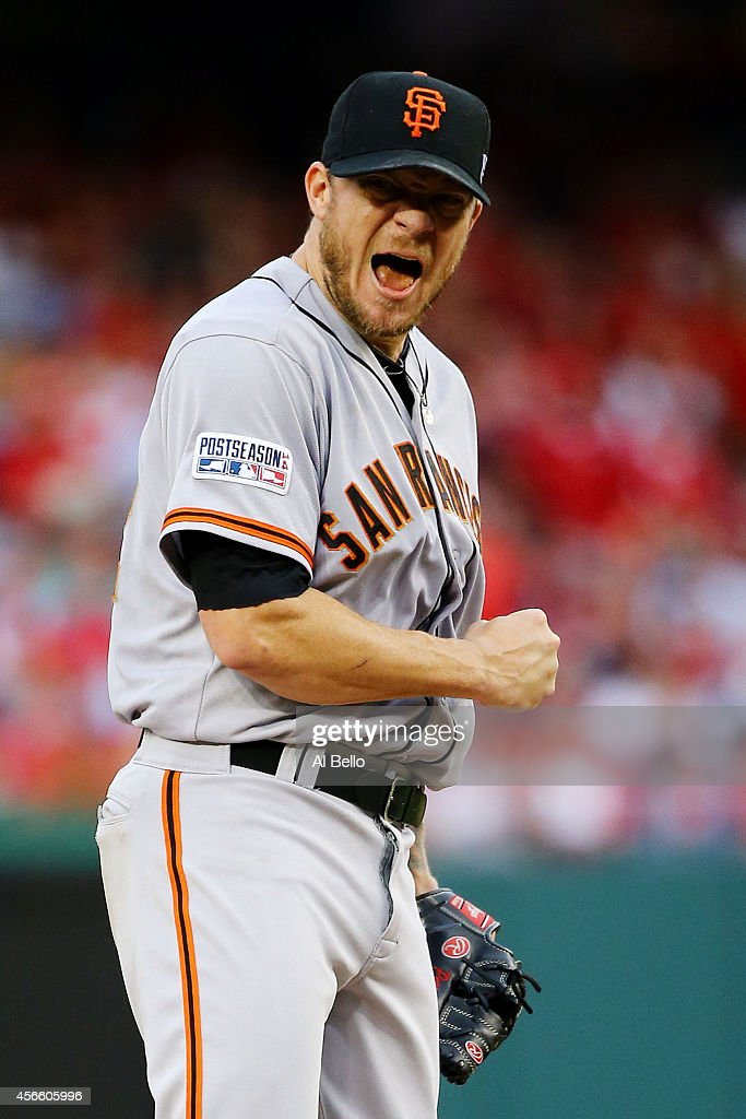 <a gi-track='captionPersonalityLinkClicked' href=/galleries/search?phrase=Jake+Peavy&family=editorial&specificpeople=211320 ng-click='$event.stopPropagation()'>Jake Peavy</a> #22 of the San Francisco Giants reacts after walking Jayson Werth #28 of the Washington Nationals in the sixth inning during Game One of the National League Division Series at Nationals Park on October 3, 2014 in Washington, DC.
