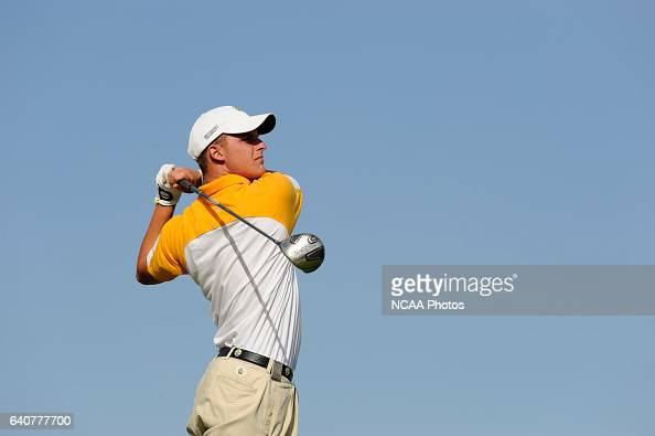 Jake Pleczkowski of Metodist University tees off during the Division III Men's Golf Championship held at the PGA Golf Club in Port St Lucie FL...
