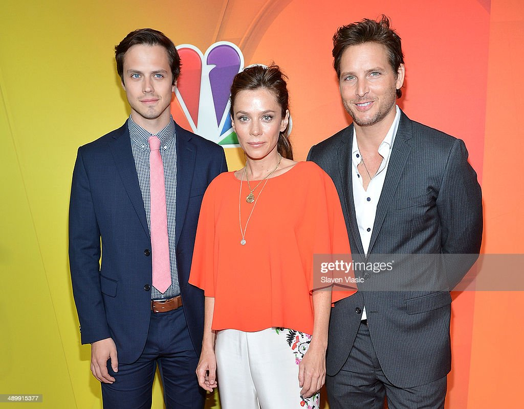 Jake Robinson, Anna Friel and Peter Facinelli attend the 2014 NBC Upfront Presentation at The Jacob K. Javits Convention Center on May 12, 2014 in New York City.