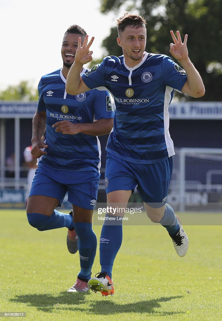 Jake Robinson of Billericay Town celebrates his hat trick with Jeremy Lynch during The Emirates FA Cup Qualifying First Round match between Billericay Town and Didcot Town on September 2, 2017 in Billericay, England.
