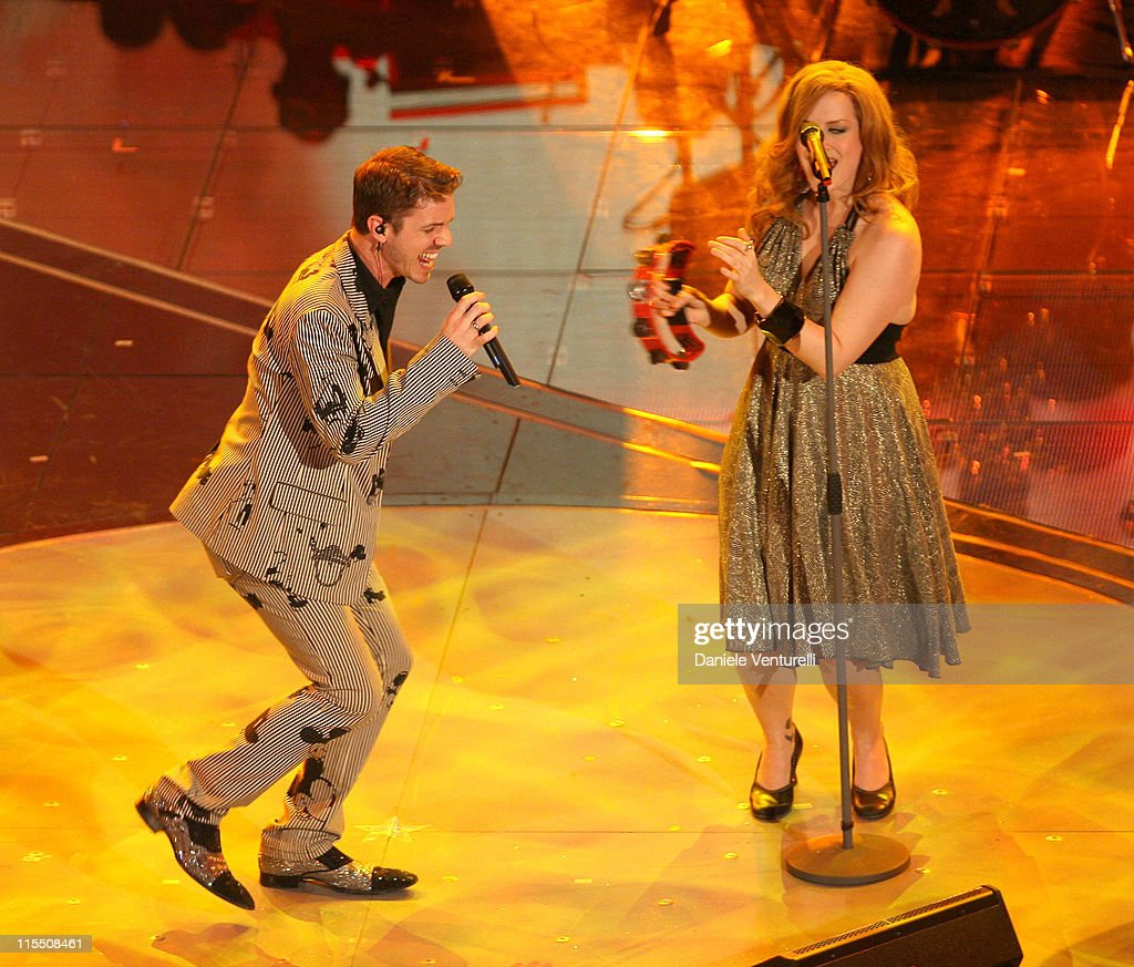 Jake Shears and Ana Matronic of Scissor Sisters during 57th San Remo Music Festival - Inaugural Evening at Teatro Ariston in Sanremo, Italy.