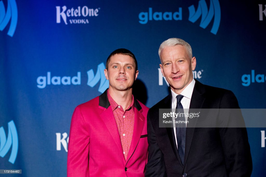 Jake Shears of Scissor Sisters and <a gi-track='captionPersonalityLinkClicked' href=/galleries/search?phrase=Anderson+Cooper&family=editorial&specificpeople=226776 ng-click='$event.stopPropagation()'>Anderson Cooper</a> attend the 24th annual GLAAD Media awards at The New York Marriott Marquis on March 16, 2013 in New York City.